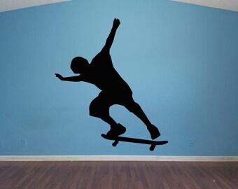 Wall Decal Sticker Bedroom Skateboarding boy girl teenager teen kids room sports 013d