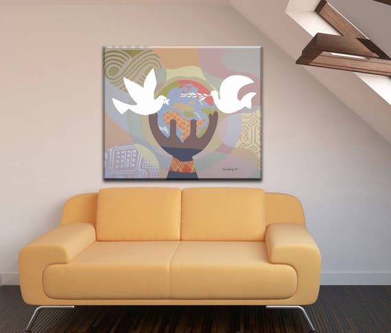 World Peace Art, Peace Artwork, Peace Painting, Dove Painting, Dove Art, World Globe Art, World Map Canvas, Geometric Art, Abstract Art