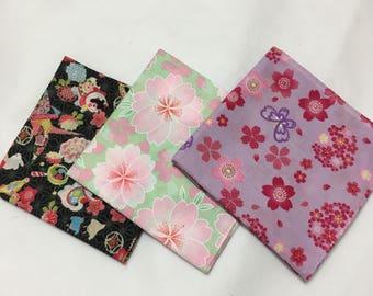 Furoshiki, set of 3 Japanese fabric,  gift set, Japanese furoshiki, wrapping cloth, gift for granma, Japanese fabric, furoshiki gift, #2