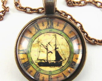 Men's Traditional SAILING SHIP CLOCK Necklace  -- Two-masted brigg in full sail on a clock face, Sailing barge, Nautical art