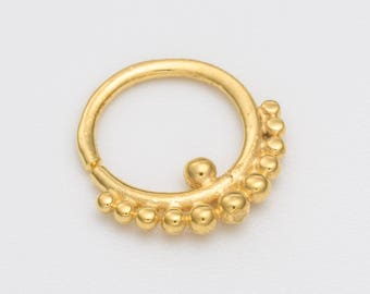 18g Gold Tribal Septum Ring For Pierced Nose. Piercing. Tribal Jewellery.