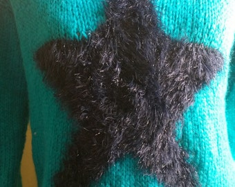 blue turquoise star sweater size small 38/40