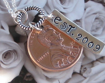 Custom Wedding Penny necklace 2018 US penny or earlier year