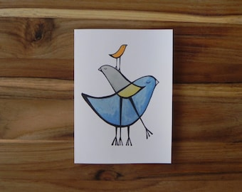 Layered Bird Card Set, Blank notecards with envelopes, Bird Art
