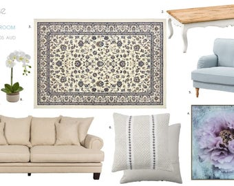 Romantic Living Room Digital Design Board and Product Listing