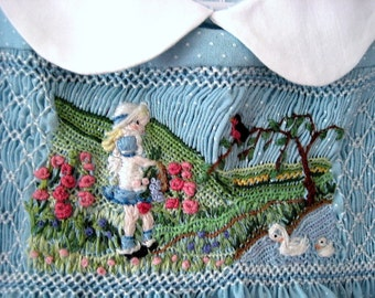 Smocked Dress Size 2,/ Hand Smocked Hand Embroidered/ Girls Detailed, Wearable Art, One of a Kind/ Gathering Flowers in the Country