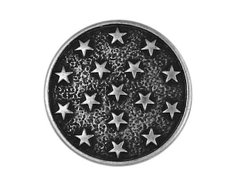 3 Round Metal Stars 13/16 inch (20 mm ) Metal Buttons Black and Silver