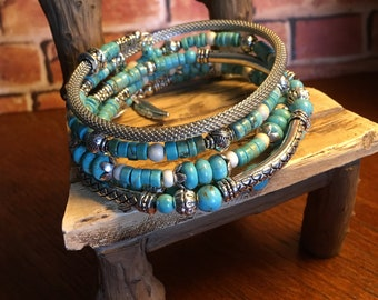 Turquoise and Silver Five Strand Memory Wire Bracelet