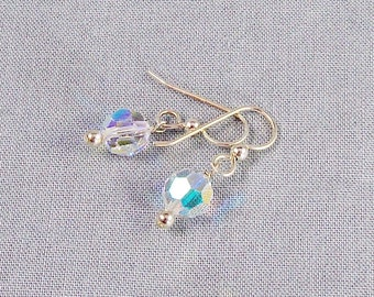 Swarovski Small Crystal Dangle Earrings on Sterling Silver, Aurora Borealis Bead Jewelry