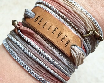 believer- Boho Silk Wrap Bracelet- blessed- wrap bracelet- yoga wrap bracelet- silk wrap- christian jewelry- faith- grace