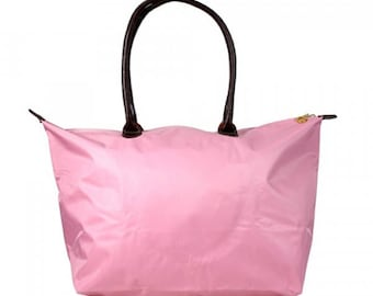 Monogrammed Large Pink Tote, Personalized Tote Bag, Nylon Tote, Bridesmaid Gift, Mother's Day Gift, Customized Gift, Diaper Bag, Beach Bag