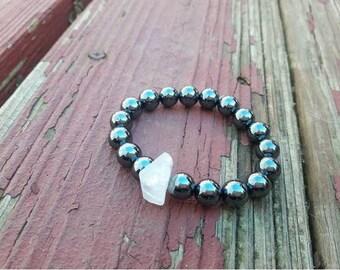 Hematite & Crystal Quartz Yoga Mala Prayer Bracelet