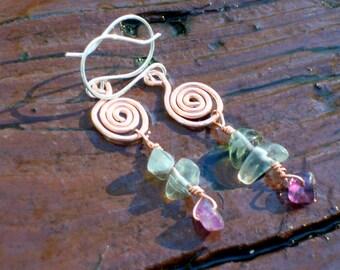 Fluorite Earrings - Copper Spiral Earrings - Purple Gemstone - Green Stone Earrings - Boho Earrings - Long Dangle Hippie Earrings - Unique