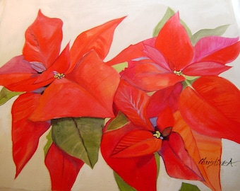 Red Poinsettias Pillow - Hand Painted Original 15x18  Beautiful Christmas Floral Bold Striking Holiday Decor