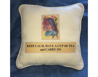 Decorative pillow, throw pillow, Keep calm & carry on, cup of tea, yellow linen