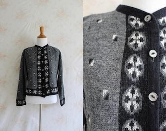 Vintage 60s Cardigan, 1960s Nordic Sweater, Geometric, Button Down, Medium