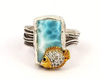 One of a Kind Larimar Ring with Golden FIsh