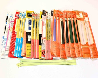 30 Metal Zippers Vintage Assorted Colors and Lengths