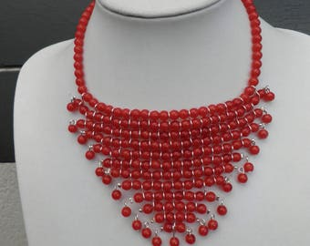 OOAK bib necklace all hinged glass beads red reflections