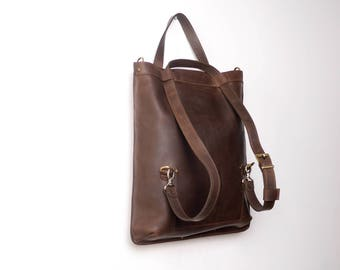 Handmade Brown LEATHER BACKPACK /  multifunctional BAG  / Shoulder bag / Tote from cowhide leather in brown color