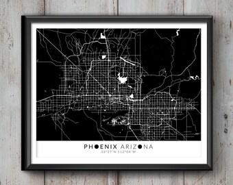 PHOENIX Map with Coordinates, Phoenix Map, Map Art, Map Print, Phoenix Print, Phoenix Art, Phoenix Gift,  Phoenix Decor, Phoenix Arizona,Map