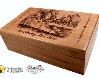 Alice in Wonderland Wood Tea Box-Mad Hatter Tea Party-Vintage Engraving-Perfect Keepake Chest Too! Make it Personalized! Made in USA