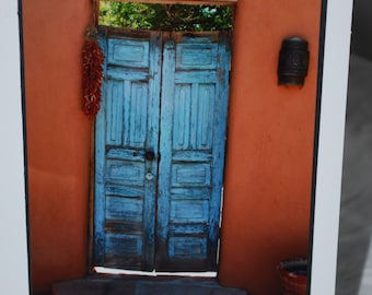 Southwest photo card, blue door photograph, New Mexico