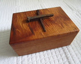 Mahogany Wooden Box with Rusty Nail Cross Men's Valet Box Jewelry Box Catchall Trinket Box Wooden Box Vintage Wooden Box