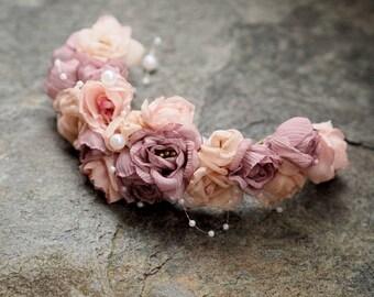 Bridal Tiara, Flower Wedding Tiara, Flower Wedding Hair Piece, Bridal Hair Vine, Hair Halo, Hair Up Accessory, Wedding Floral Head Piece