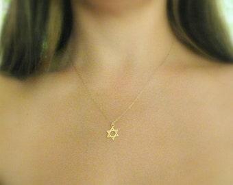 Star of david Necklace - Jewish star necklace - Gold jewish star - Magen david necklace -  Gold star of david - Jewish jewelry