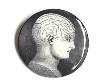 Phrenology head black vintage style and retro pin / Gothic for geeks. weird graphic jewelry