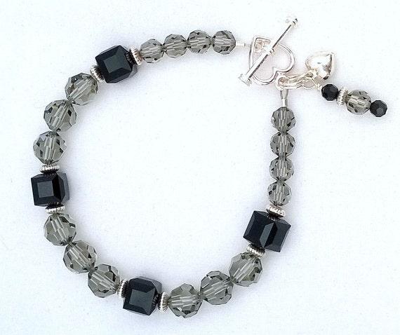 Black Diamond and Jet Swarovski Crystal Bracelet, Crystal Bracelet, Swarovski Crystal Bracelet