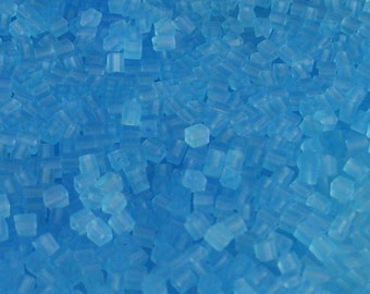 Tube of 4mm Glass Cube Beads in Light Aqua Matte // Turquoise Cube Beads