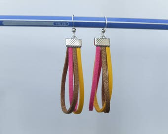Earrings in pink, yellow and caramel suede