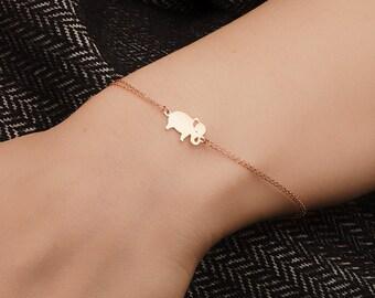 Gold Elephant Bracelet -Elephant Bracelet - 14k Gold Bracelet -   Available in 14k Gold, White Gold or Rose Gold