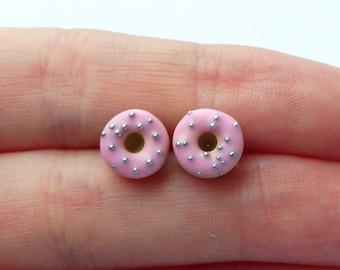 Miniature cute pastel baby pink with sprinkles donut ear studs stud earrings charms kawaii sweet silly food jewelry donut post earrings