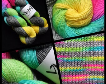 "Dyed to Order, Hand Dyed Yarn, Hand Dyed Sock Yarn, Hand Dyed DK Yarn. ""Broken Rainbow"""