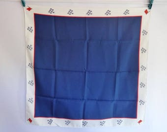 Vintage Blue red white scarf with red flag design on corners 66cm x 66cm
