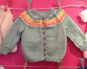 Hand knit girls cardigan