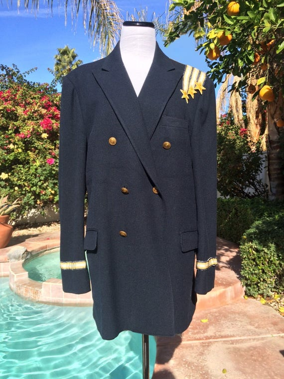 Navy Blue with Gold Stars  Double Breasted Jacket  Vintage 90s.