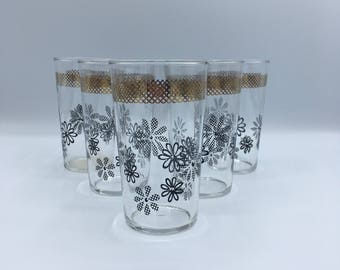 5 Vintage Mid-Century Federal Glass Tumblers Black Daisies Metalic Gold Woven Pattern Band 1950s