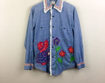 Vintage 70s CHAMBRAY Patchwork Button Down Shirt Prairie Girl w/ Flowers Calico Embroidered M
