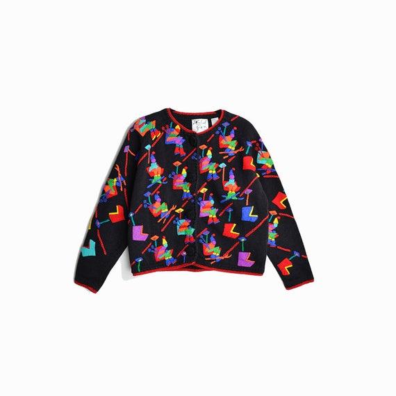 Vintage 90s Crazy Skiers Cardigan Sweater  / 1995 Michael Simon Sweater - women's large