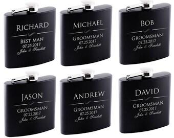 P Lab Set of 8 or Only 1 Groomsmen Gift - 6 oz. Personalized Flask Set - Groomsman Gifts Flask, Customized Flask Set   Wedding Flask Set - 1