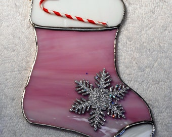 Stained Glass Christmas Stocking Ornament or Suncatcher - Handcrafted in Tennessee USA