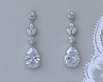 Bridal Earrings, Teardrop Earrings, Wedding Earrings, Crystal Bridesmaids Earrings,  ASHLEY SC