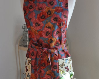 Women's Apron, Reversible Butterfly, Poppy Apron, Unique Flattering Kitchen Apron, Great Birthday, Wife, Bride to be, Hostess gift.
