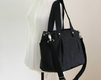 SALE - Black diaper bag in Water-resistant Crinkle Nylon, 3 Compartments, Tote, Messenger, Beach bag, Gym, Travel - Nuch