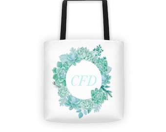 Succulent tote bag with initials // Customized tote bag // Bridesmaids gift bag // Gift doe bridesmaids // Succulent gifts // Gifts under 50