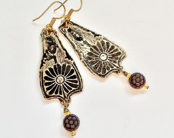 Etched Brass Earrings, Art Deco Flower Earrings with Copper Dangles - Free Domestic Shipping
